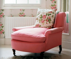 pink, room, and floral image