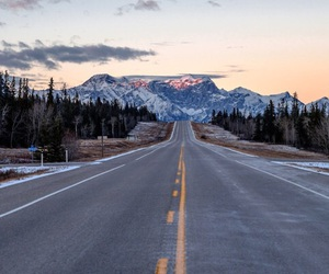 mountains, road, and travel image