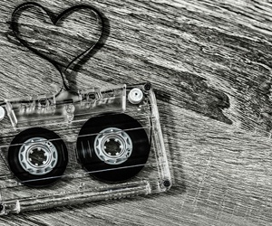audio, black&white, and heart image