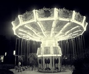 carousel, lights, and lonely image