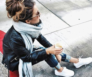 cup of coffee, white sneakers, and sunglasses image