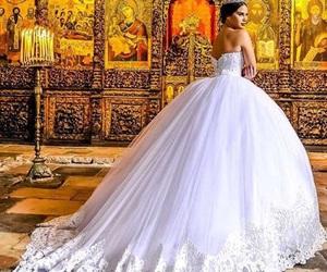 dress, wedding, and model image