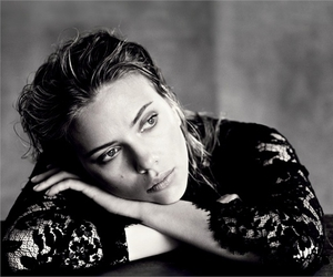 Scarlett Johansson, black and white, and actress image