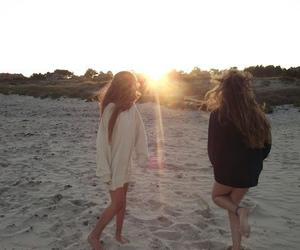 beach, friendship, and young image