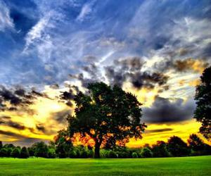 background, sunset, and clouds image