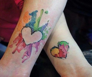 tattoo, heart, and colors image
