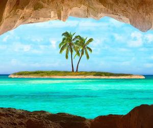 Island, sea, and beach image