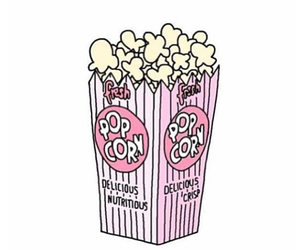 popcorn, pink, and overlay image