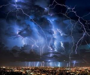 lightning, city, and storm image