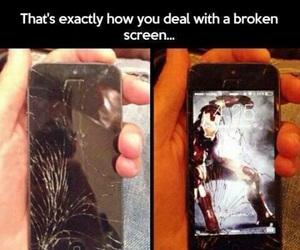 iphone, broken, and iron man image