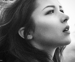 beautiful girl, black and white, and photography image