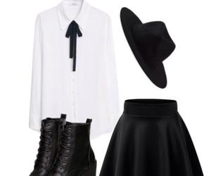 black boots, black hat, and black skirt image