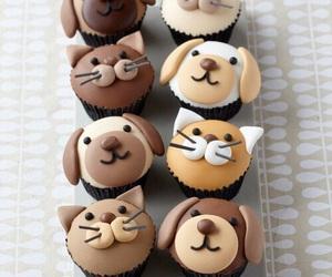 dog, cat, and cupcake image