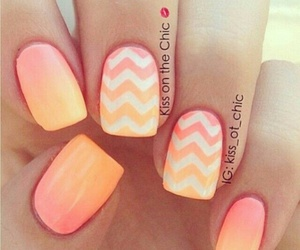 nails, orange, and pink image