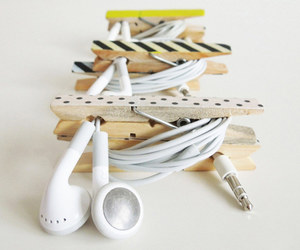 clothespin, diy, and headphones image