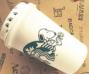 snoopy, starbucks, and coffee image