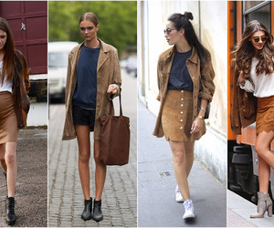 fashion, skirt, and suede jacket image