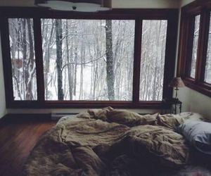 bedroom, forest, and snow image