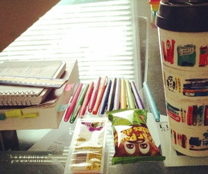 coffee, desk, and school image