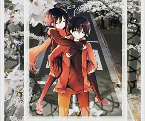 kawaii, anime couple, and piggy back ride image