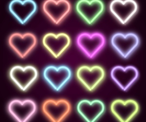 hearts, neon, and heart image