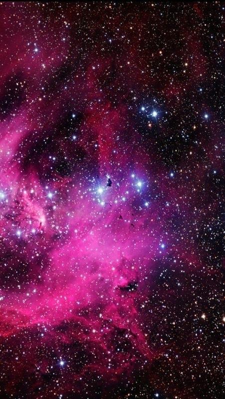 galaxy, stars, and pink image