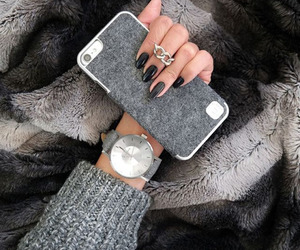 iphone, nails, and grey image