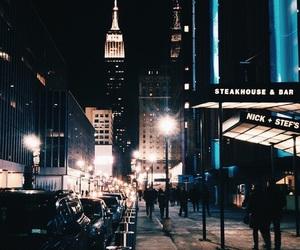 city, night, and blue image