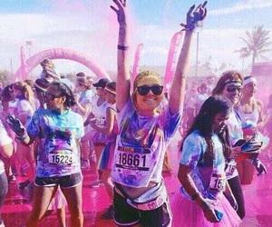 color run, happy, and fun image