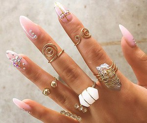 pink nails, cute rings, and rings image