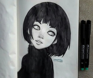 black, drawing, and art image