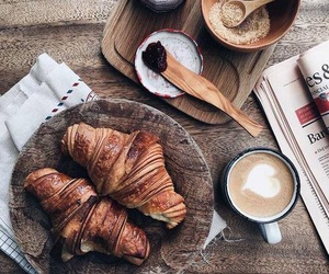 food, coffee, and croissant image