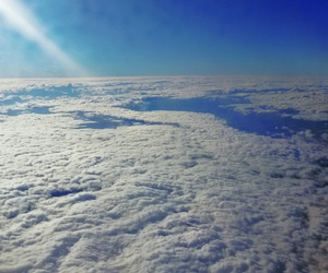 airplane, landscape, and sky image