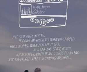 kodaline, high hopes, and Lyrics image