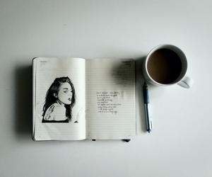 coffee, art, and notebook image
