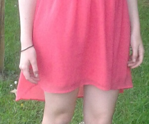 dress, grass, and red image