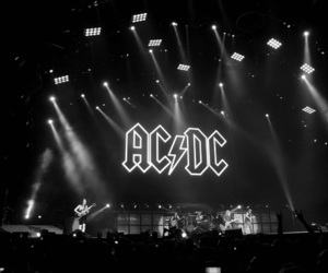 ACDC, rock, and black and white image