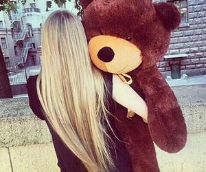 girl, hair, and teddy image