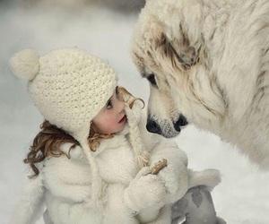 dog, snow, and child image