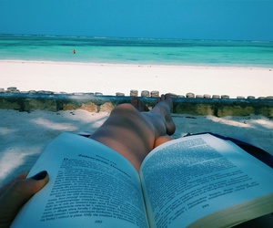 beach, book, and chill image