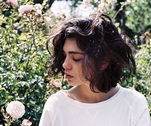 girl, short hair, and flowers image