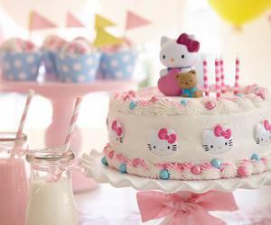 hello kitty, cake, and birthday image