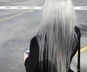 black purse, long straight silver hair, and black long sleeve image