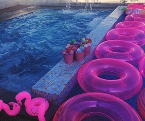 pink, pool, and summer image