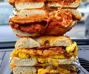 bacon, bagels, and cheese image