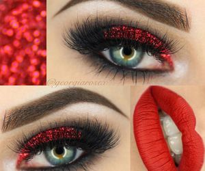 beauty, red, and valentine's day makeup image