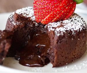 chocolate, cake, and strawberry image