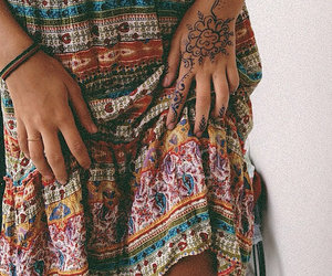 dress, hippie, and tattoo image