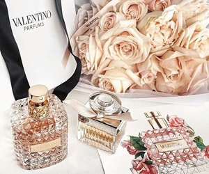 Valentino, flowers, and perfume image