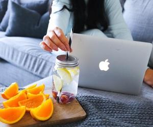 fruit, apple, and girl image